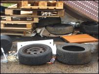 Tyres at a bonfire