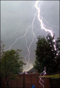 Lightning striking a back garden [Pic: Darryl Ralph]