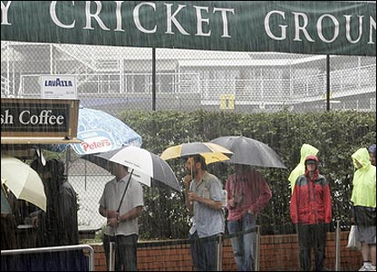 Umbrellas on the first morning at the SCG