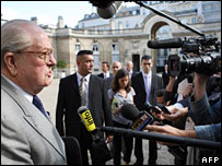 French far-right leader Jean-Marie Le Pen talks to the press at the Elysee Palace after attending a consultation meeting with President Nicolas Sarkozy,