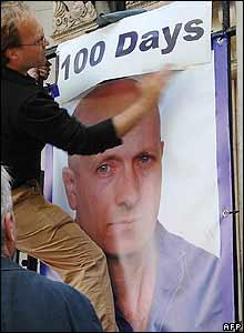 Poster of Alan Johnston put up outside Bush House in London - 20/06/07