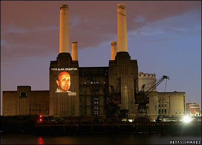 Image of Alan Johnston projected onto Battersea Power Station in London - 19/06/07