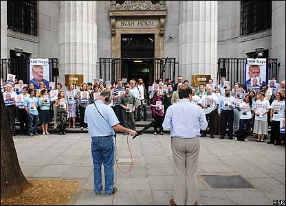 Vigil for Alan Johnston outside Bush House in London - 20/06/07