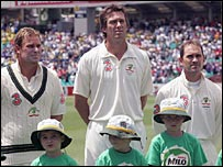 Shane Warne, Glenn McGrath and Justin Langer line up before the start of play in Sydney