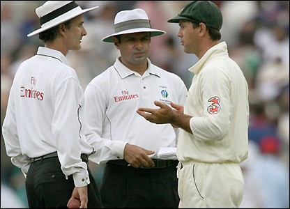 The umpires consult Ricky Ponting