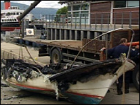 The burnt out vessel was brought ashore