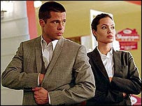 Brad Pitt and Angelina Jolie in Mr & Mrs Smith