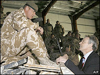 Tony Blair with British troops in Iraq