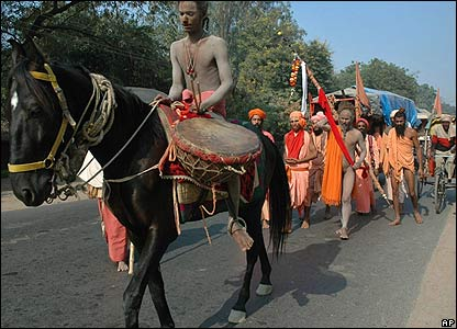 A group of Sadhus arrive for the Mela 