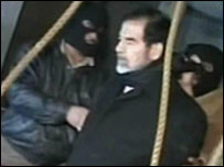 TV grab of execution of Saddam Hussein (file picture)
