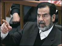 Saddam Hussein in court (file picture)