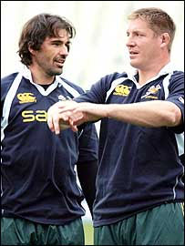 South Africa locks Victor Matfield (left) and Bakkies Botha