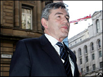 Gordon Brown arrives for the Mansion House dinner