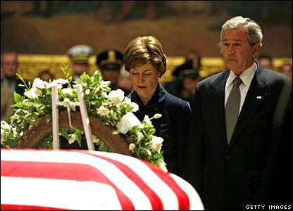 US President George W Bush and his wife Laura Bush