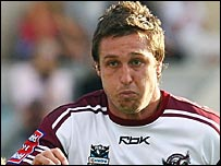 Chris Hicks in action for Manly in the Sea Eagles