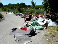 Rubbish left on the roadside