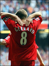 Steven Gerrard celebrates his second goal in the 2006 FA Cup final