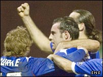 Kris Boyd celebrates scoring from the penalty spot