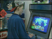 Boy in arcade in 1994