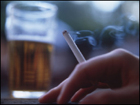 Cigarette and pint