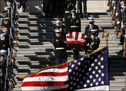 End of funeral service in Washington