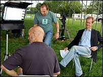 Stephen Sackur and Michael Eavis on the interview set