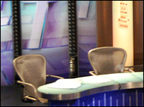 Empty chairs on the Question Time panel