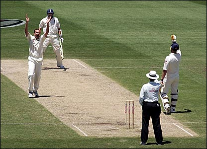 Stuart Clark (left) appeals successfully for the wicket of Steve Harmison