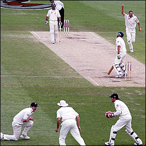 Steve Harmison (right) celebrates as Paul Collingwood (left) holds onto the catch that disimisses Matthew Hayden