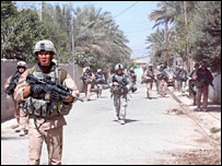 Soldiers from the 3rd Stryker Brigade Combat Team in Baquba on 19 June 2007 (Image: US Army Sgt Armando Monroig, 5th Mobile Public Affairs Detachment)