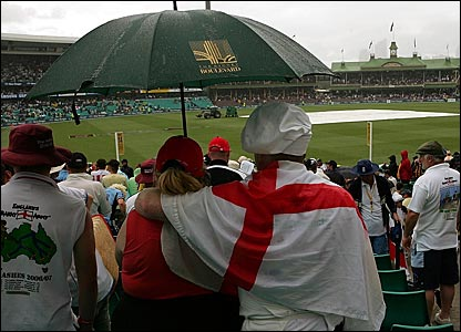 England fans at a rain-sodden Sydney Cricket Ground