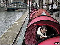 Homeless camping out on Canal Saint Martin, Paris