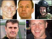 Clockwise from top left: Sarah-Jayne Mulvihill, John Coxen, Paul Collins, David Dobson, Darren Chapman