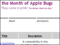 Screenshot of Month of Apple Bugs website, Info Pull