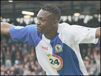 Shabani Nonda celebrates scoring for Blackburn