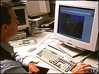 Man using computer in the 90s