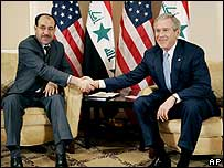 Nouri Maliki and US President George W Bush