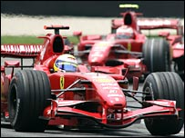 Felipe Massa leads Ferrari team-mate Kimi Raikkonen at the US Grand Prix.
