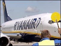 Ryanair plane being directed at airport