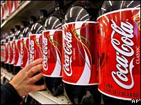 Bottles of Coca-Cola