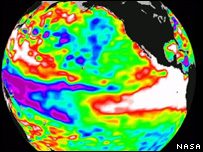 Image showing an El Nino event from 1998 (Image: Nasa)
