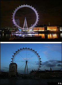 London Eye Wednesday night and Thursday night (below)