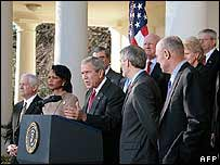 US President George W Bush and his cabinet