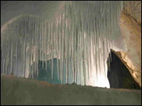 Ice cave sculpture called Frigga's Veil