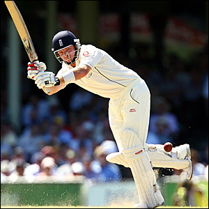 Ian Bell clips Shane Warne for four through mid-wicket