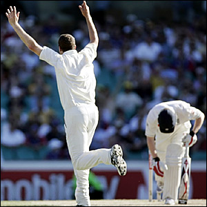 Stuart Clark celebrates taking the wicket of Paul Collingwood