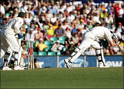 Adam Gilchrist (left) stumps Andrew Flintoff