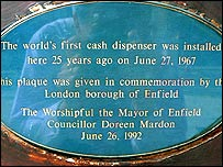 Plaque at Barclays in Enfield commemorating the first ATM