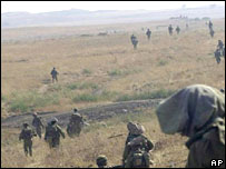 Israeli troops in military exercise on Golan heights