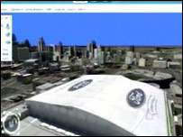 Microsoft's Virtual Earth showing a building with the Ford logo on its roof